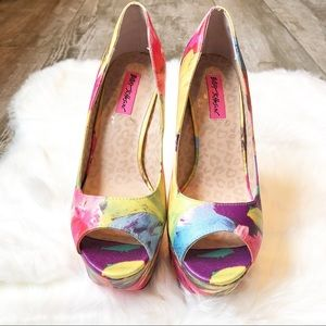 "Betsey Johnson Shoes - Betsey Johnson ""Bridgitt"" Platform Heels In Floral"